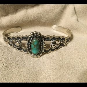 Jewelry - Native American Turquoise and Sterling Silver Cuff